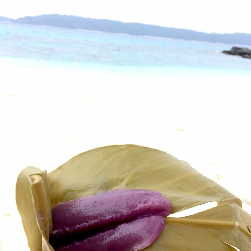 Gluten-free mochi on a beach in Okinawa.