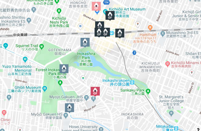 A screenshot of Gluten-Free Guide's map of Kichijoji.
