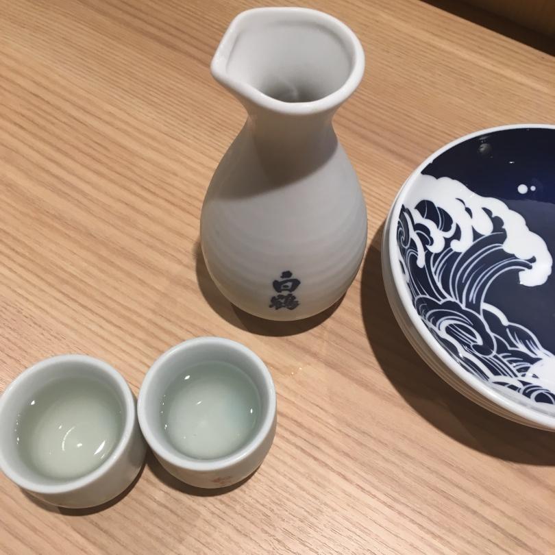 Nihonshu (sake) at a sushi restaurant.